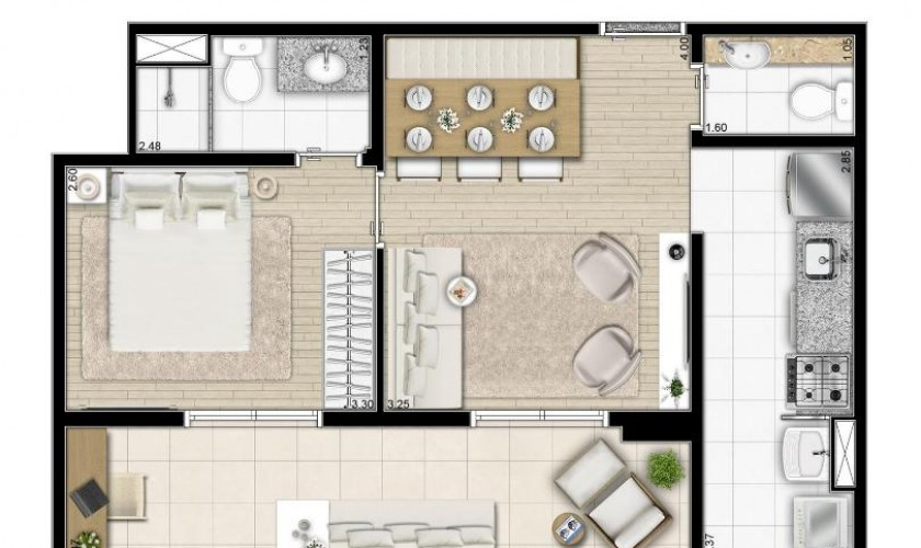 Now Studios Ipiranga   - 45m2 - 1dorm. - 1suite - 1vaga